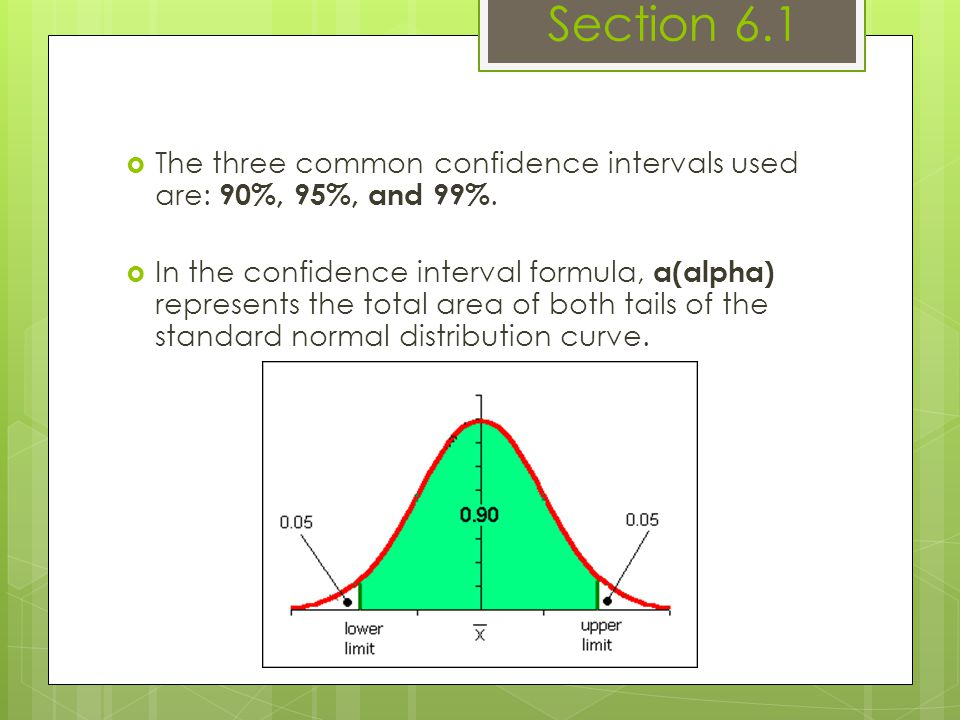 Section 6.1 The three common confidence intervals used are: 90%, 95%, and 99%.