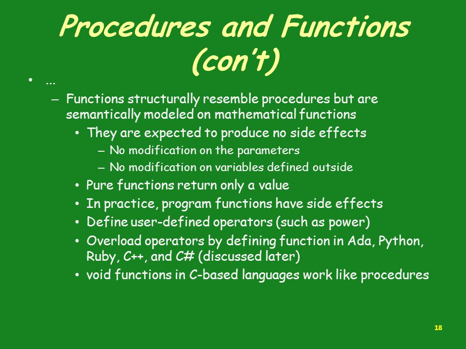 Procedures and Functions (con't)