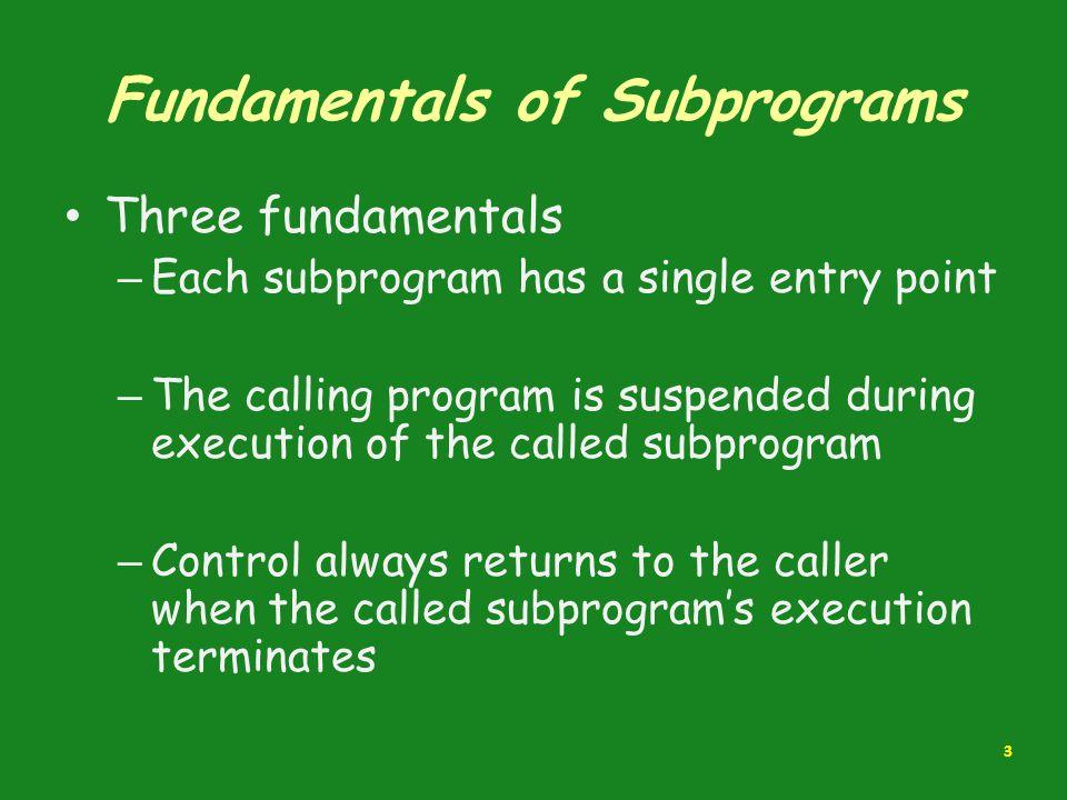 Fundamentals of Subprograms