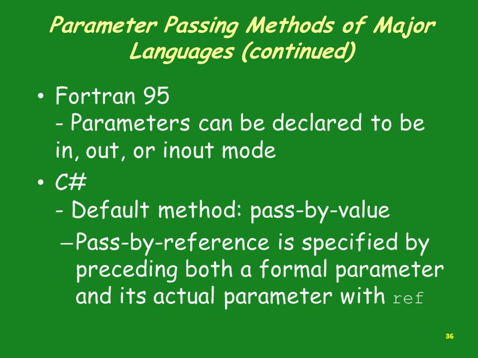 Parameter Passing Methods of Major Languages (continued)