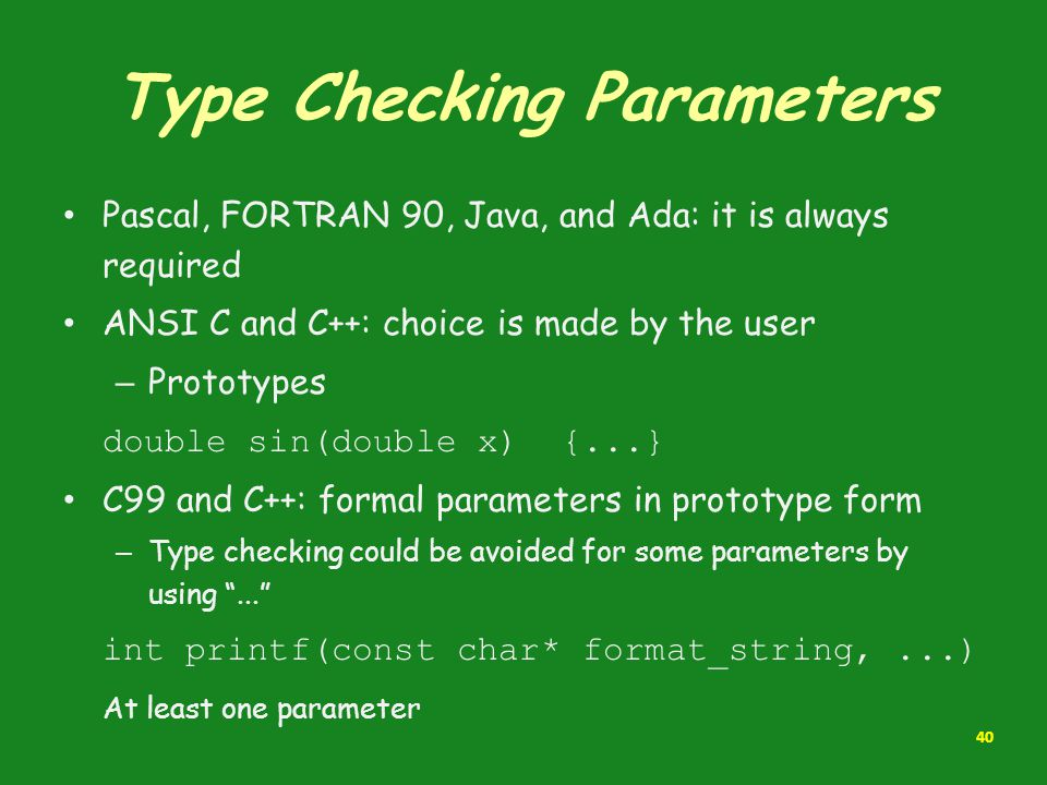 Type Checking Parameters