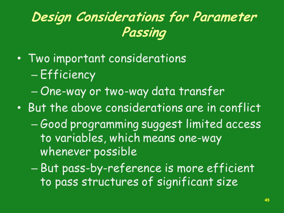 Design Considerations for Parameter Passing