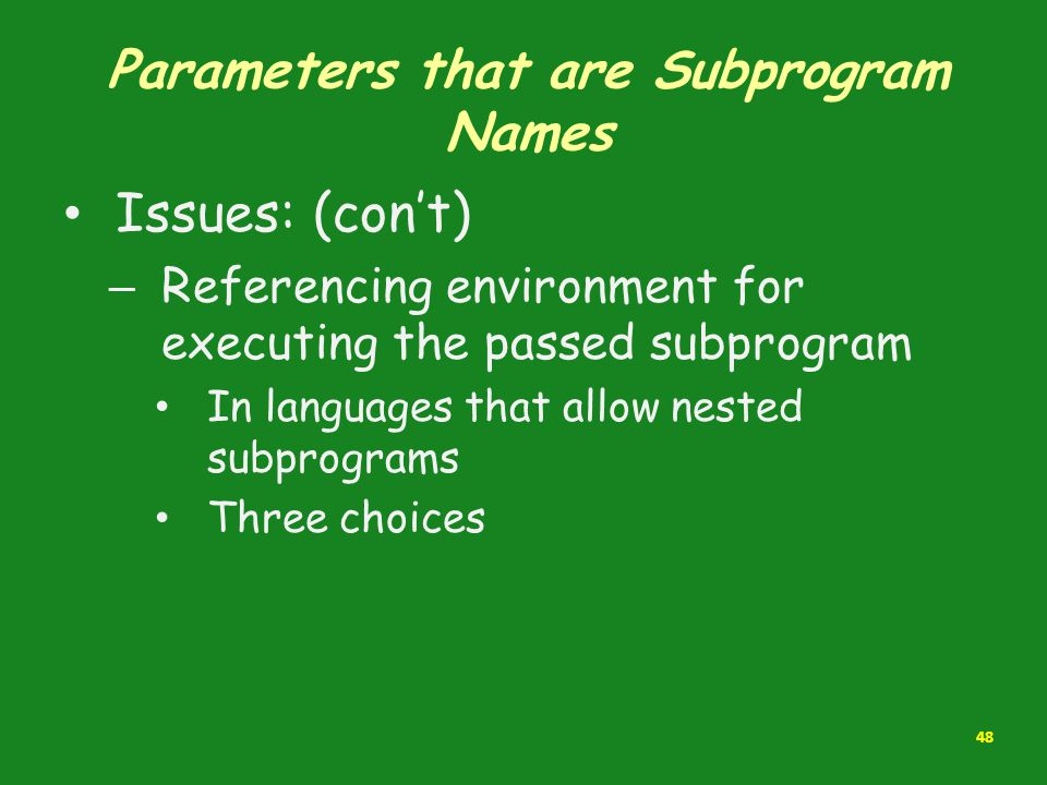 Parameters that are Subprogram Names