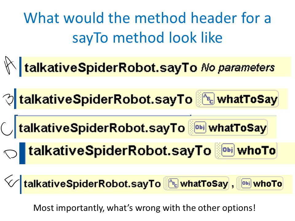 What would the method header for a sayTo method look like