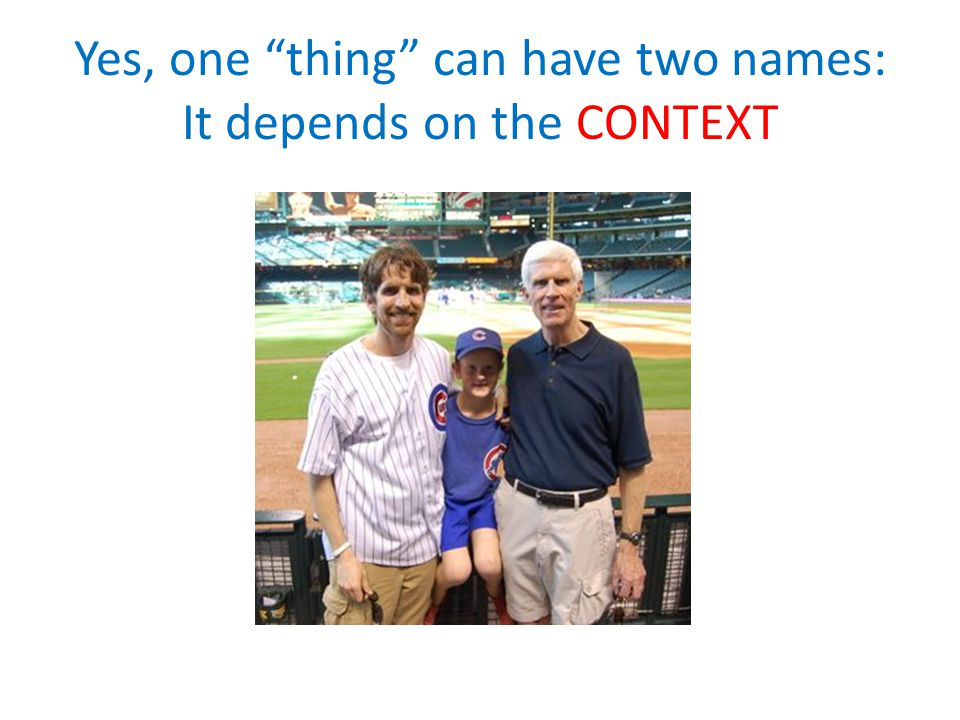 Yes, one thing can have two names: It depends on the CONTEXT