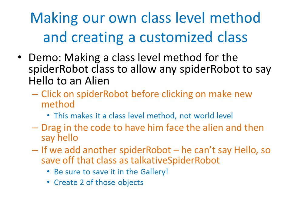 Making our own class level method and creating a customized class