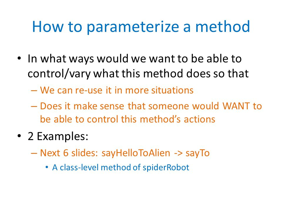 How to parameterize a method