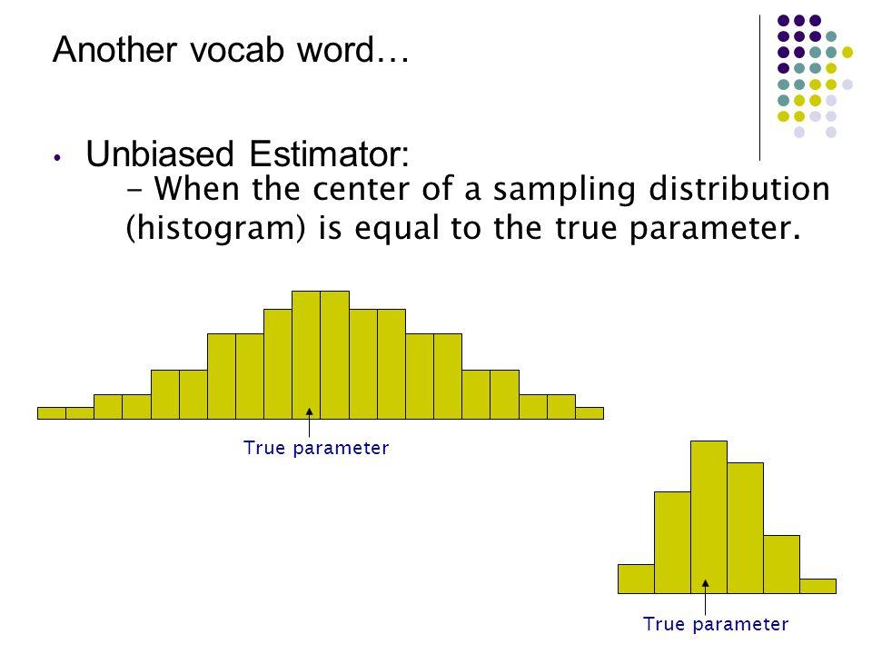 Another vocab word… Unbiased Estimator:
