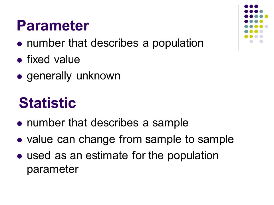 Parameter Statistic number that describes a population fixed value