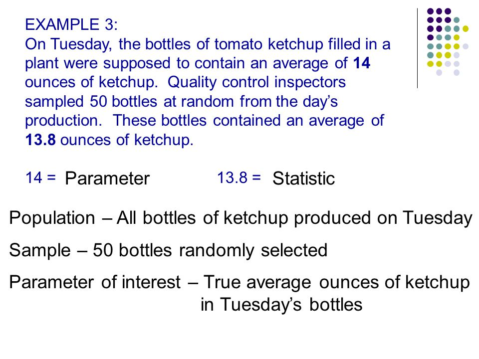 Population – All bottles of ketchup produced on Tuesday
