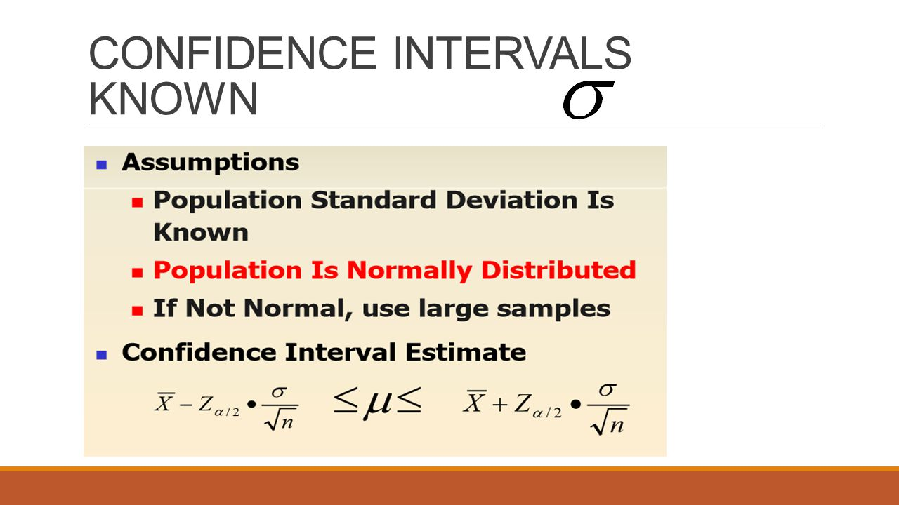CONFIDENCE INTERVALS KNOWN