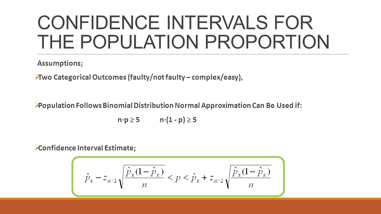 CONFIDENCE INTERVALS FOR THE POPULATION PROPORTION