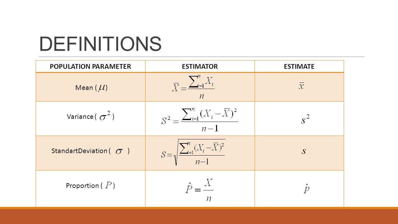 DEFINITIONS POPULATION PARAMETER ESTIMATOR ESTIMATE Mean ( )