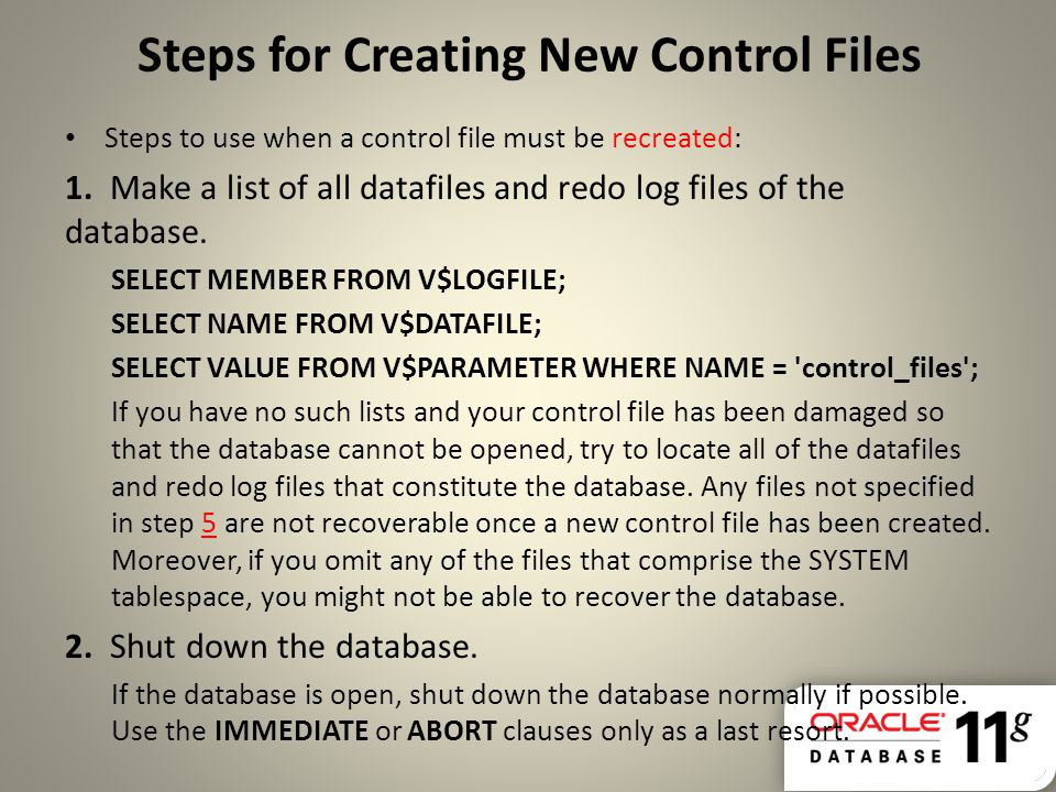 Steps for Creating New Control Files
