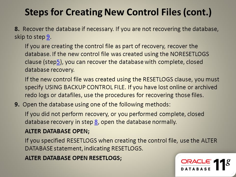 Steps for Creating New Control Files (cont.)