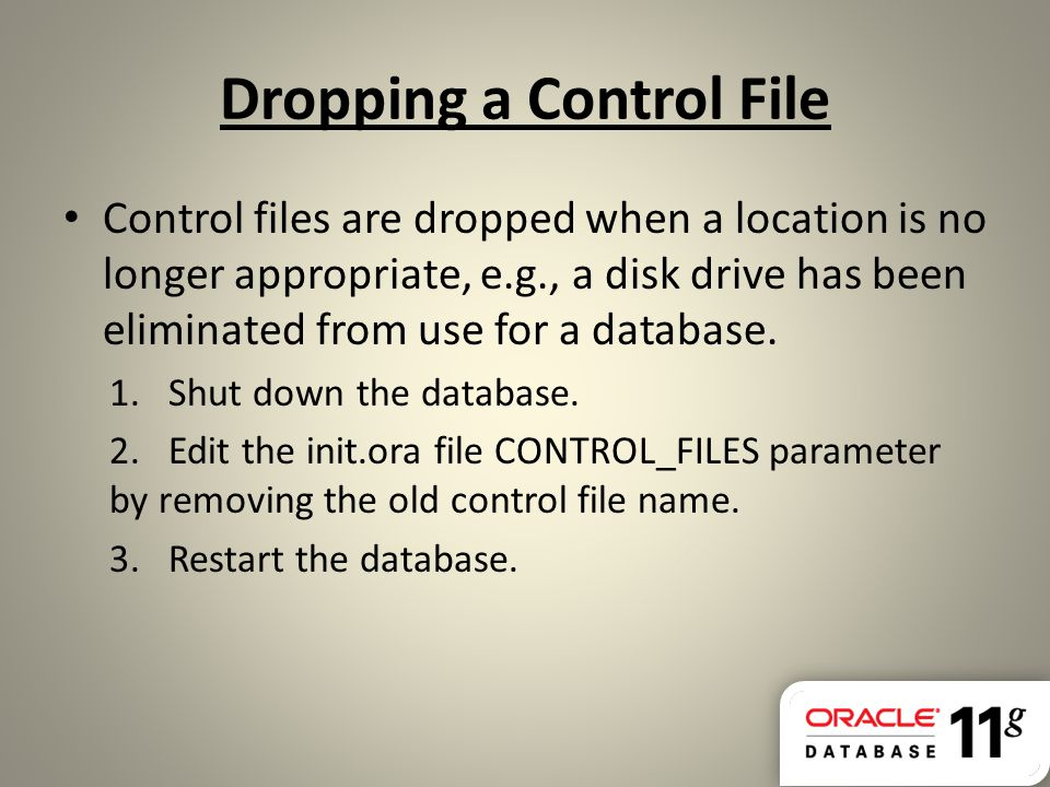 Dropping a Control File