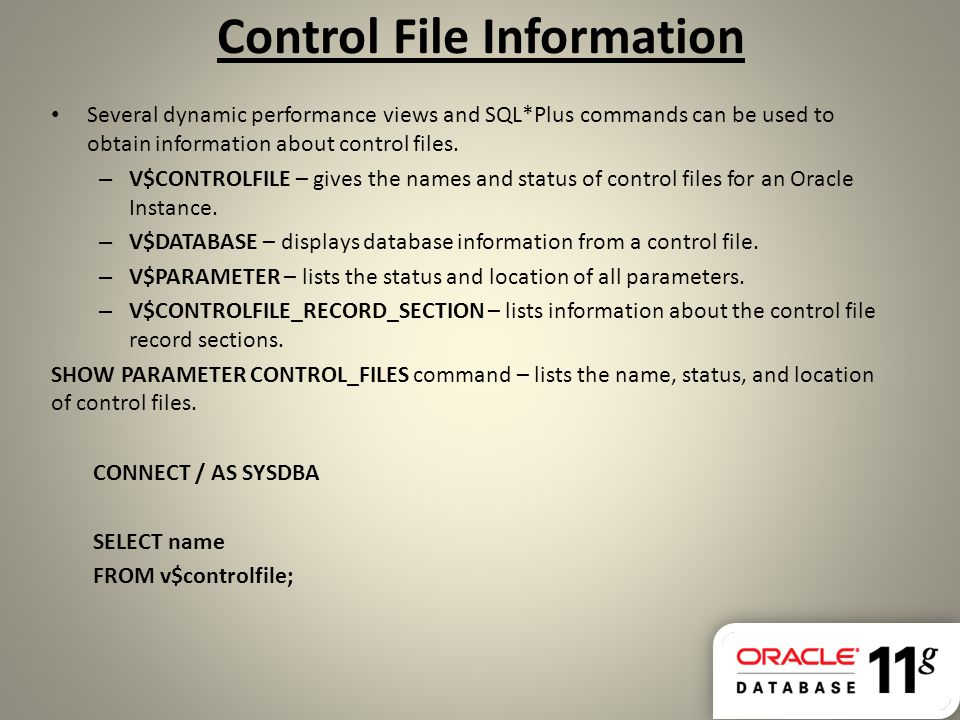 Control File Information