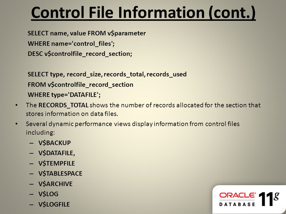 Control File Information (cont.)