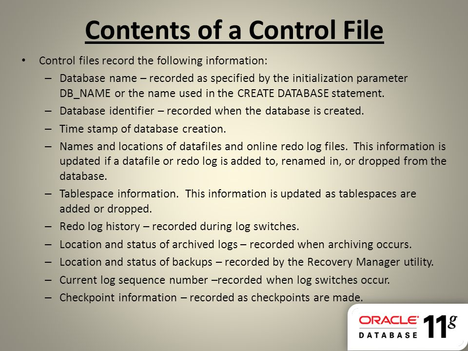 Contents of a Control File