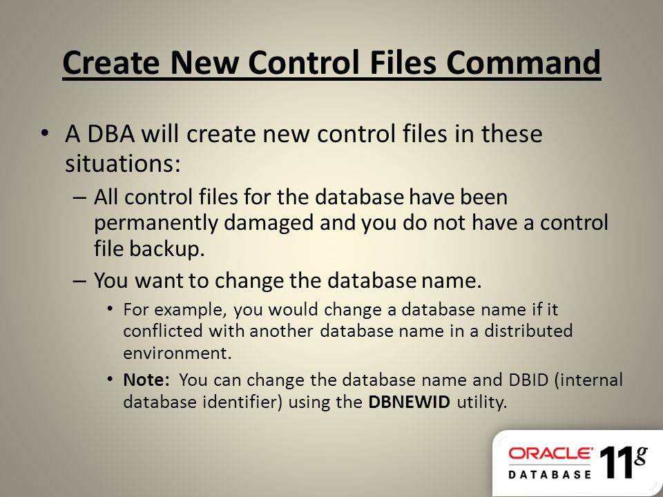 Create New Control Files Command