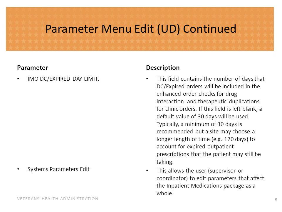Site Parameters (IV) Parameter Description