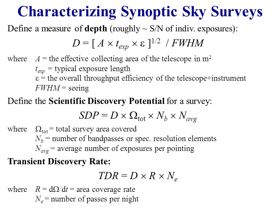 Characterizing Synoptic Sky Surveys