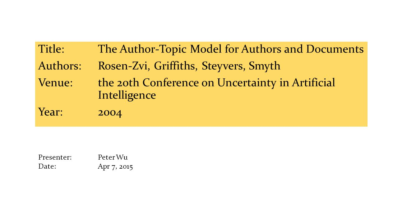 Title: The Author-Topic Model for Authors and Documents