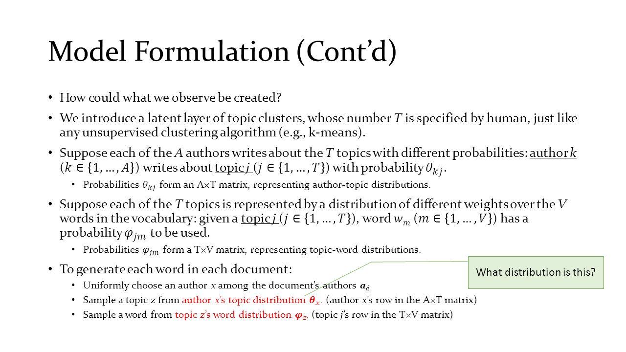 Model Formulation (Cont'd)