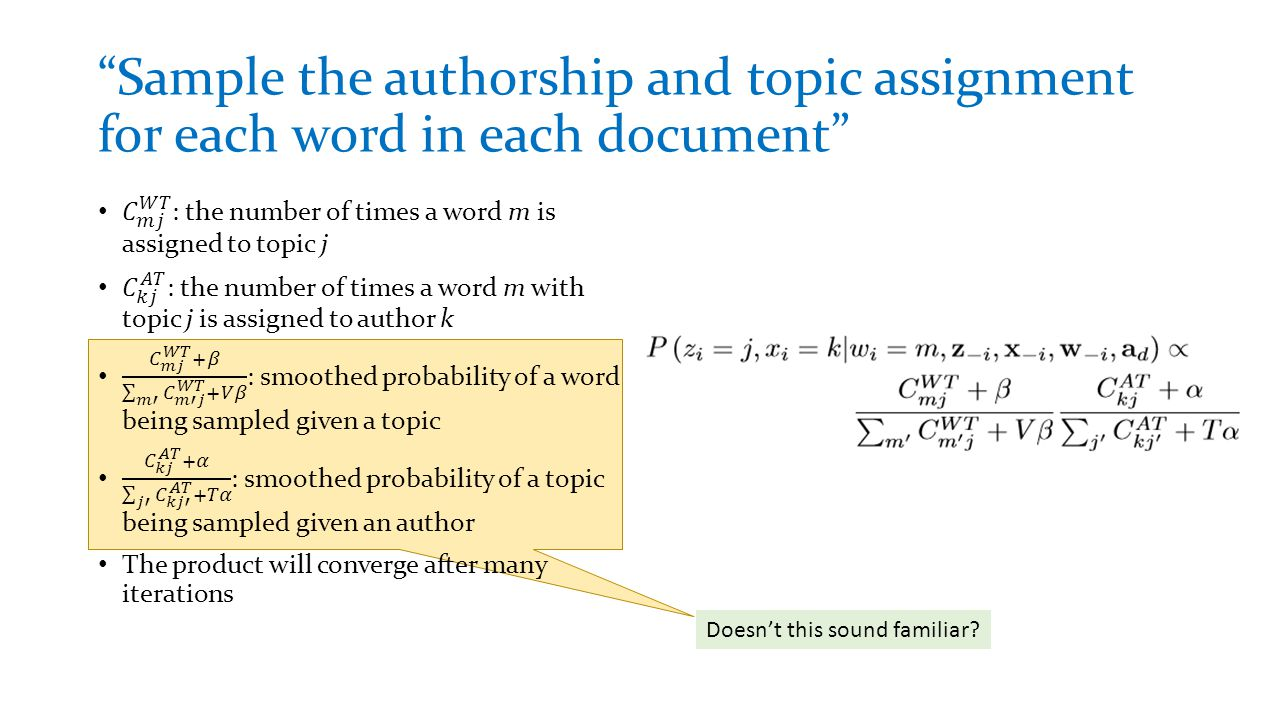 Sample the authorship and topic assignment for each word in each document