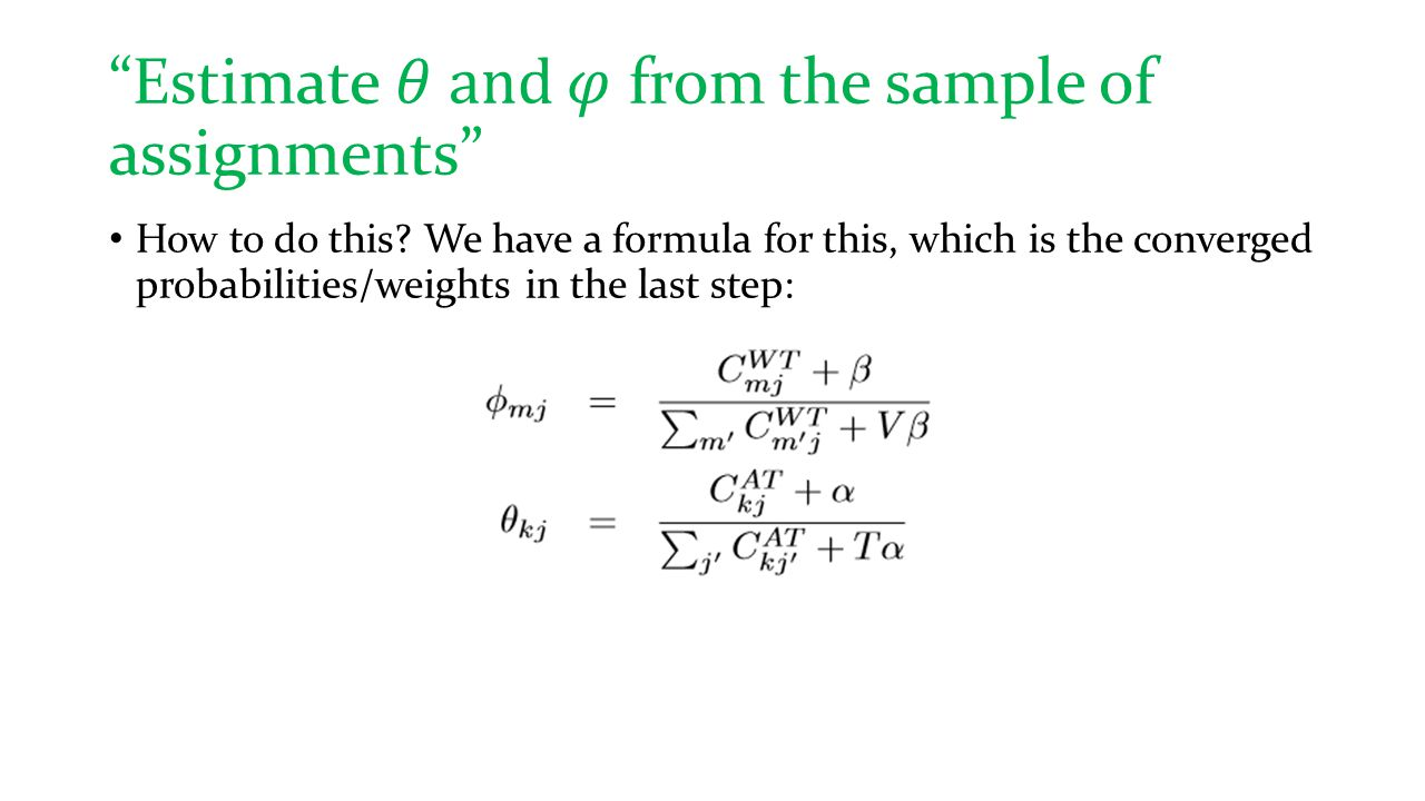 Estimate 𝜃 and 𝜑 from the sample of assignments