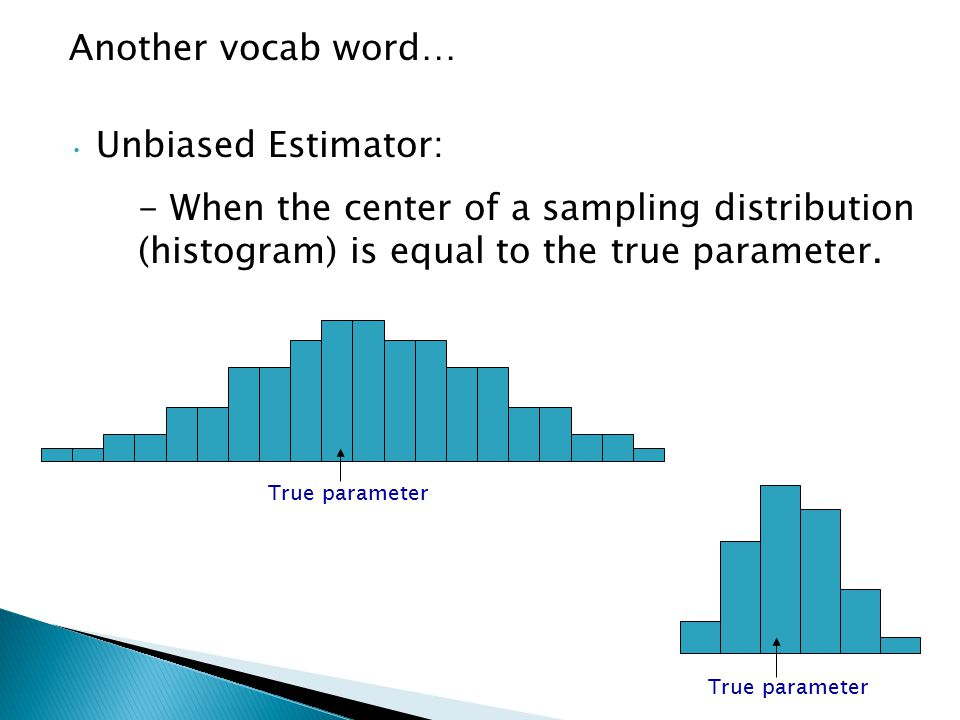 Another vocab word… Unbiased Estimator: