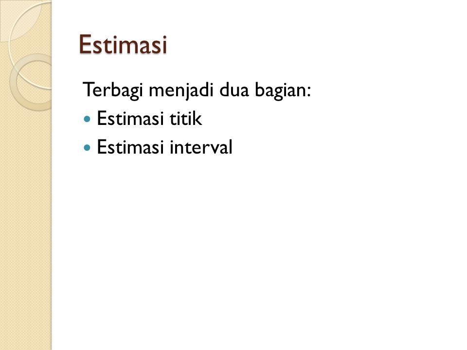 Estimasi Terbagi menjadi dua bagian: Estimasi titik Estimasi interval
