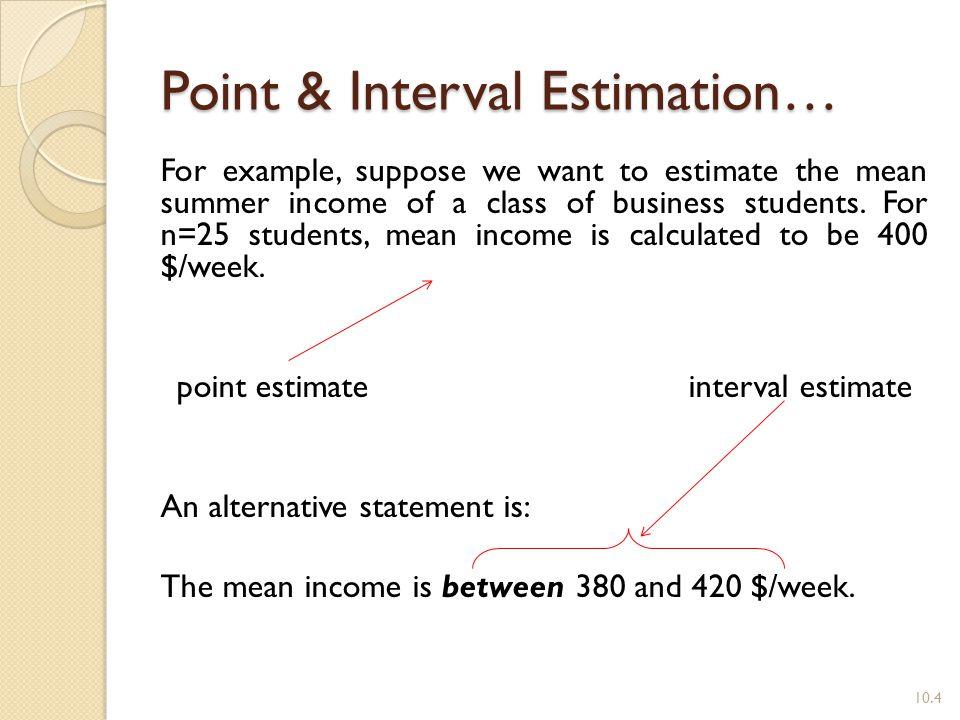 Point & Interval Estimation…