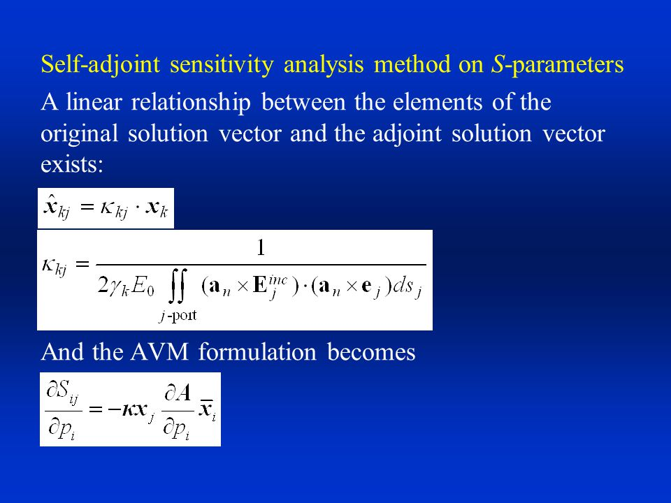 Self-adjoint sensitivity analysis method on S-parameters