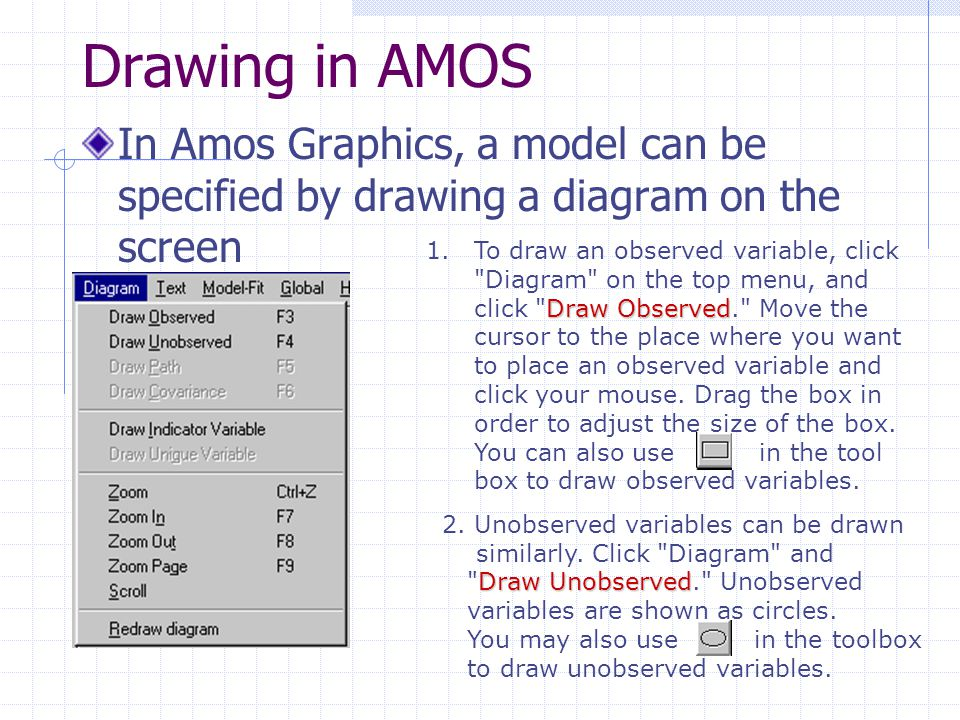 Drawing in AMOS In Amos Graphics, a model can be specified by drawing a diagram on the screen.