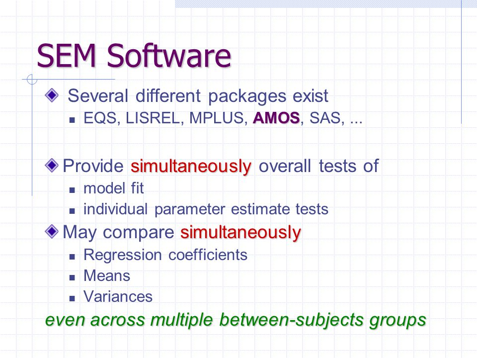 SEM Software Several different packages exist