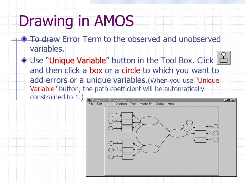 Drawing in AMOS To draw Error Term to the observed and unobserved variables.