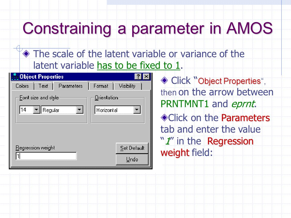 Constraining a parameter in AMOS