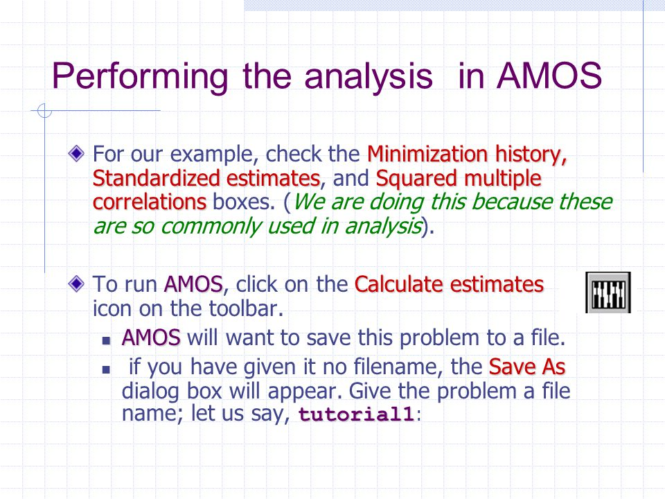 Performing the analysis in AMOS