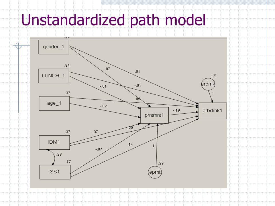 Unstandardized path model