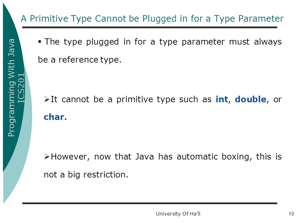 A Primitive Type Cannot be Plugged in for a Type Parameter