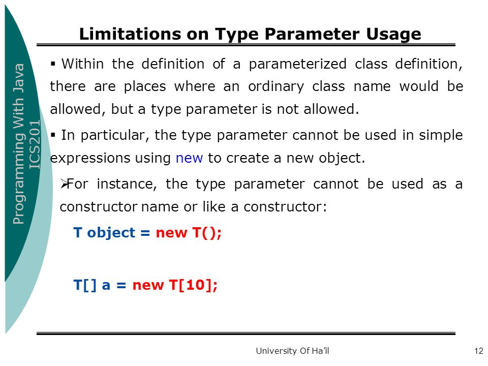 Limitations on Type Parameter Usage