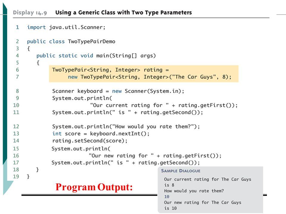 Program Output: