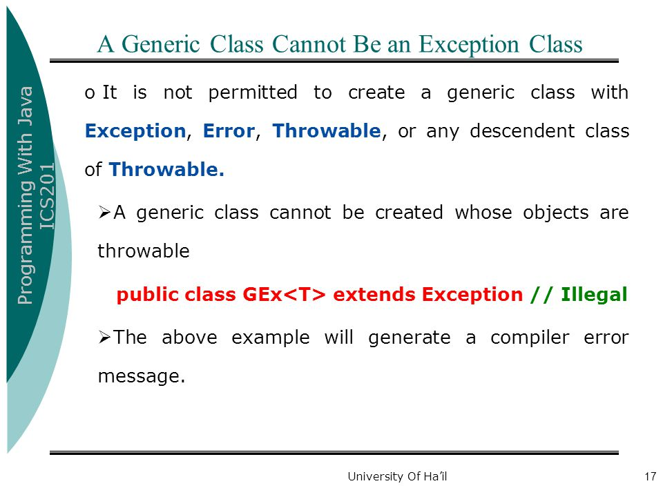 A Generic Class Cannot Be an Exception Class