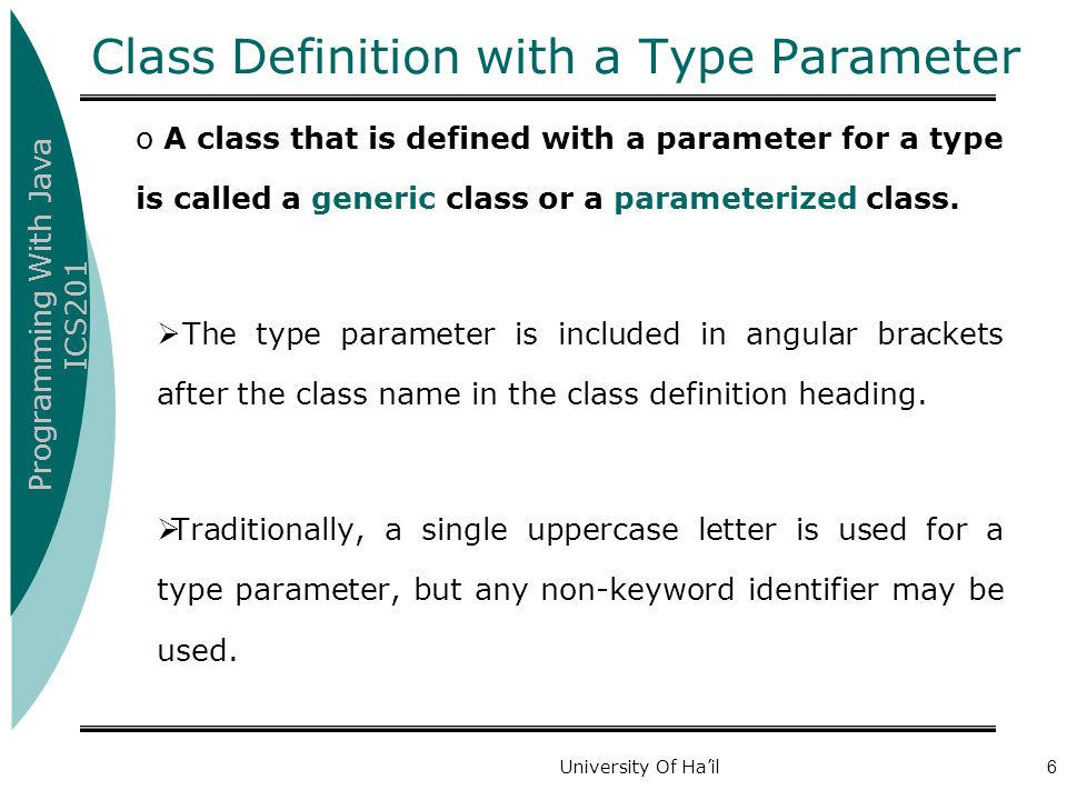 Class Definition with a Type Parameter