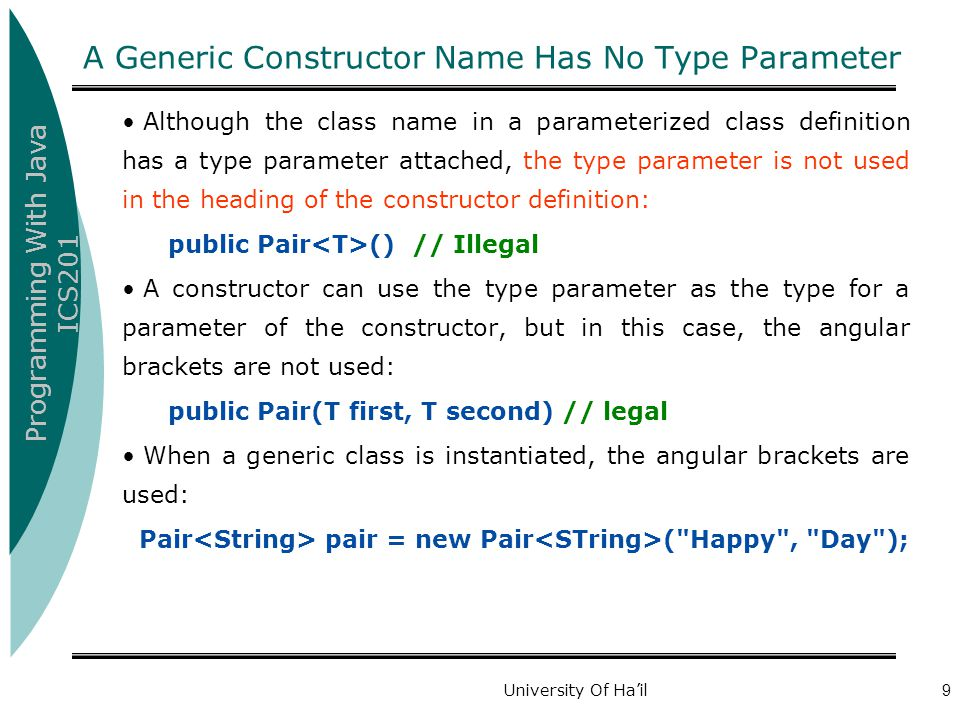 A Generic Constructor Name Has No Type Parameter