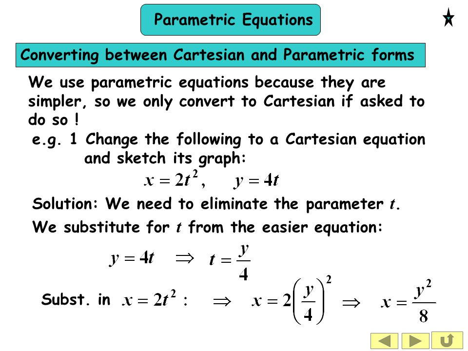 Converting between Cartesian and Parametric forms