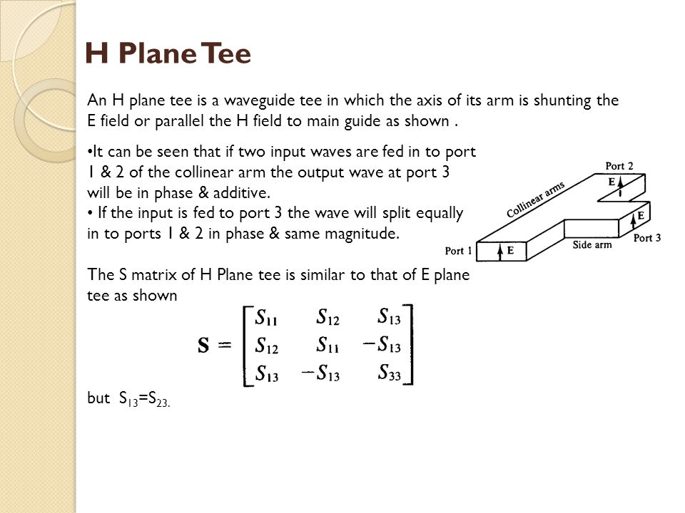 H Plane Tee An H plane tee is a waveguide tee in which the axis of its arm is shunting the E field or parallel the H field to main guide as shown .