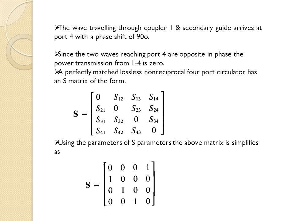 The wave travelling through coupler 1 & secondary guide arrives at port 4 with a phase shift of 90o.