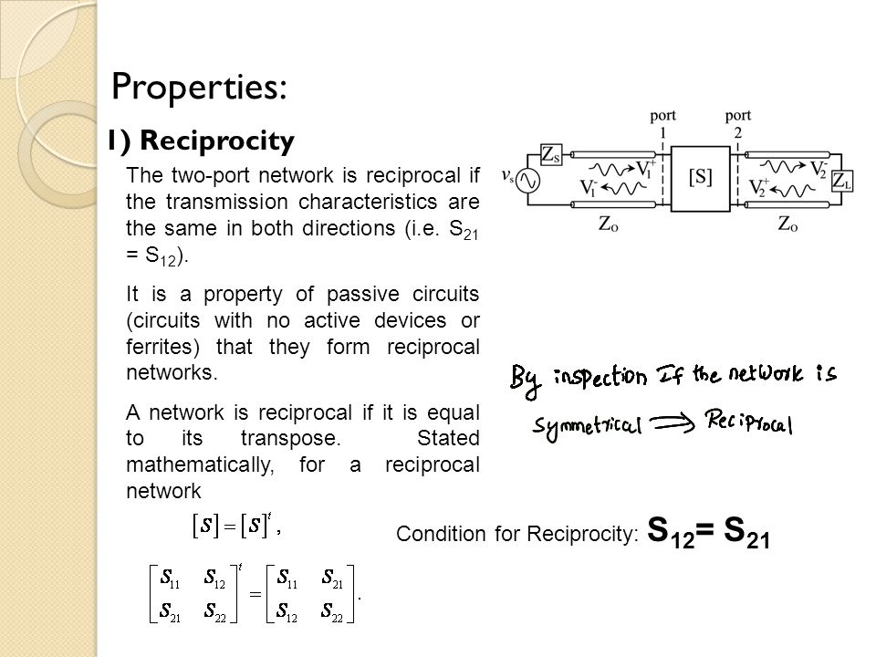 Properties: 1) Reciprocity